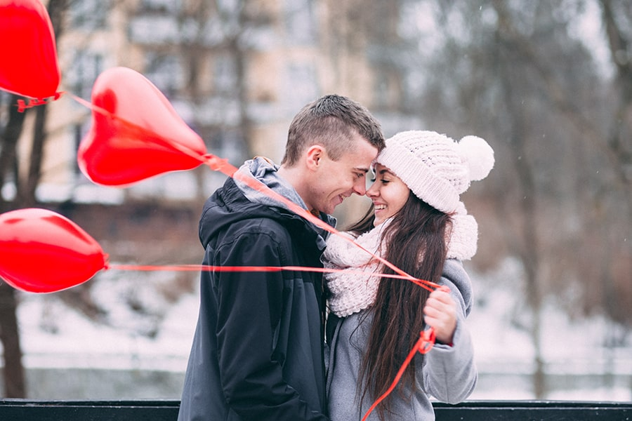 Couple on Valentine's Day with Balloons