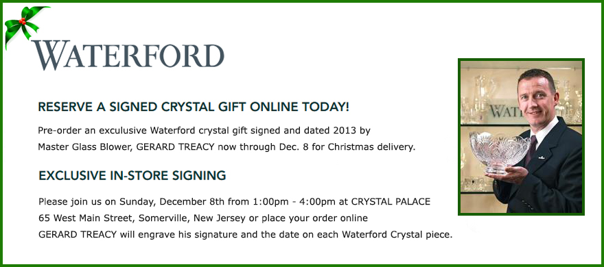 WATERFORD CRYSTAL SIGNING EVENT 2013 AT CRYSTAL PALACE GERARD TREACY