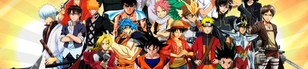 Dragonball Z Goku, One Piece, Naruto, Eren, Bleach pose for Anime Group photo on this banner.