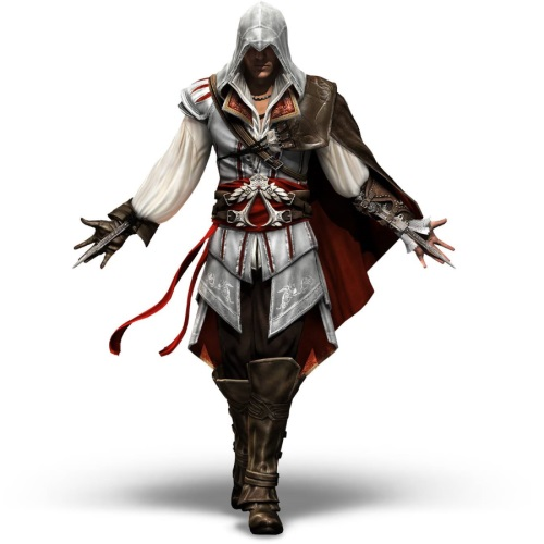 Assassin's Creed character with arms outstretched.
