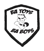 B.A.Toys Pilot Mission patch, white and black with B.A. Toys logo.