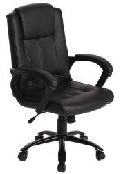 Black ergonomic leather office executive desk chair.