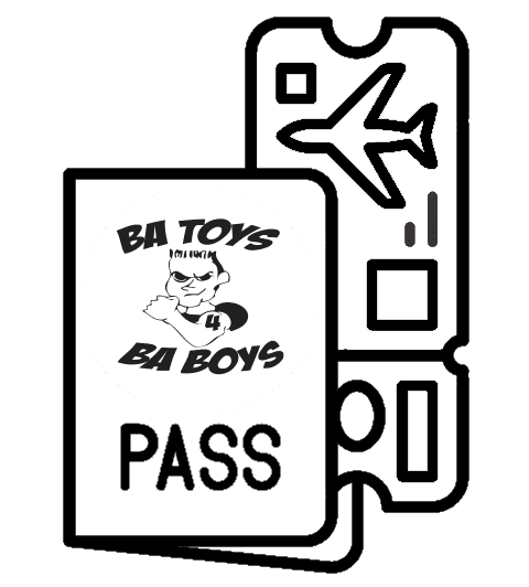 B.A.Toys Pilot flight boarding pass and ticket.