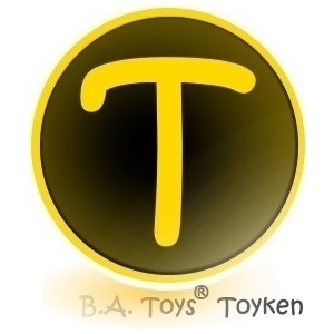 Toyken.  Toyken Cryptocurrency. Toyken placard featuring Toyken logo and BA Toys Toyken signature.
