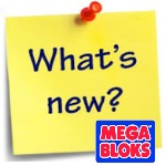 What's New sticky note with Mega Bloks logo posted by thumbtack.