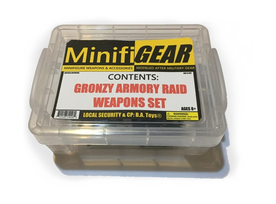 MinifiGEAR� Gronzy Armory Raid Minifigure Weapons Set officially licensed MinifiGEAR� product at B.A. Toys.