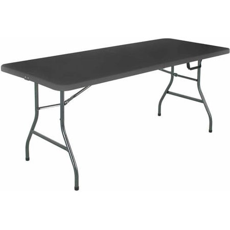 Base of operations, black folding table from Walmart
