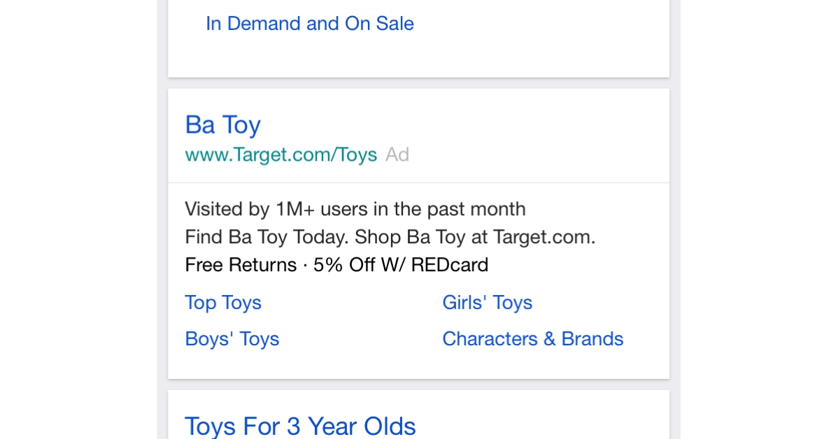 Target imposters B.A. Toys in ad.