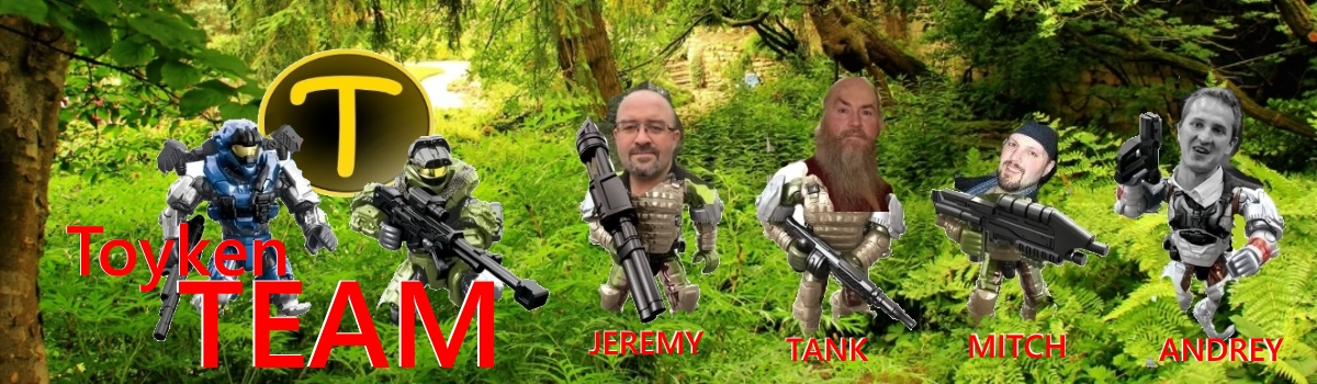 Toyken Team is jungle forest setting with ferns, featuring two Halo Mega Bloks mini action figures on the team with Jeremy, Tank, Mitch and Andrey from B.A. Toys.