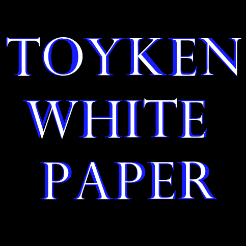 Toyken White Paper blue and white typeset square placard.
