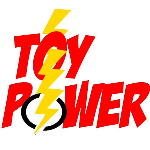 Yellow lightning bolt strikes red Toy Power logo and charges it up.
