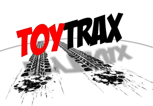ToyTRAX red and black logo with icon tread tracks running under it into the distant horizon line.  B.A. Toys ToyTRAX icon not only runs toys down, it runs them over!