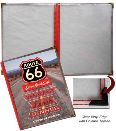 4.25 x 11 2 Panel Route 66 Menu Covers (Book Style)