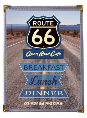 Single Panel 8.5 x 11 Route 66 Menu Cover