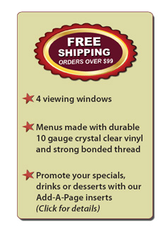 Great Menu Covers -  Free Shipping Orders over $99