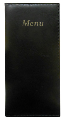 Gold River™  4.25 x 11 Menu Cover Black with Gold Imprinting