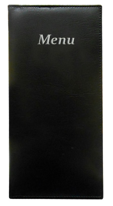 Gold River™  4.25 x 11 Menu Cover Black with Silver Imprinting