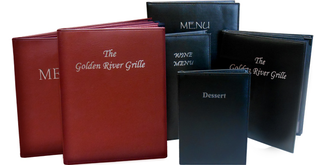 Gold River™ Padded Menu Covers (Black and Burgundy) with Foil Imprinting: Available in 2, 3 & 4 Panels