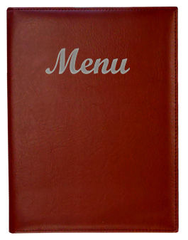 Gold River™ 8.5 x 14 Menu Cover Burgundy with Silver Imprinting