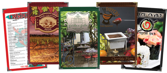 American Cafe Leatherette Menu Covers, available in Cajun Red, Wine Country Merlot, Garden Green, Chocolate and Black Caviar