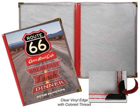 3 Panel Route 66 Menu Covers: Book Style