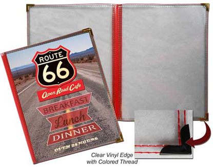3 Panel Route 66 Menu Covers (Book Style)