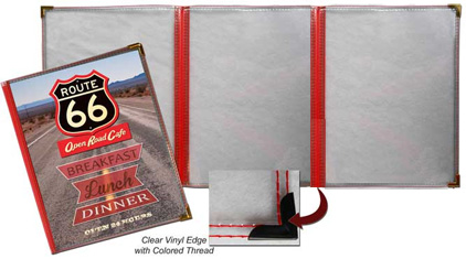 3 Panel Route 66 Menu Covers (Fold-Out Style)