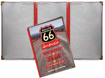5.5 x 8.5 3 Panel Route 66 Menu Covers (Tri Fold)
