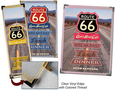 Route 66 Menu Collection (Clear Vinyl Edge with Colored Thread Menu Collection)