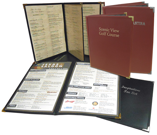 Stoney Creek™ FlexFiber™  Menu Covers with Foil Imprinting: Available in 1, 2, 4, or 6 Panels