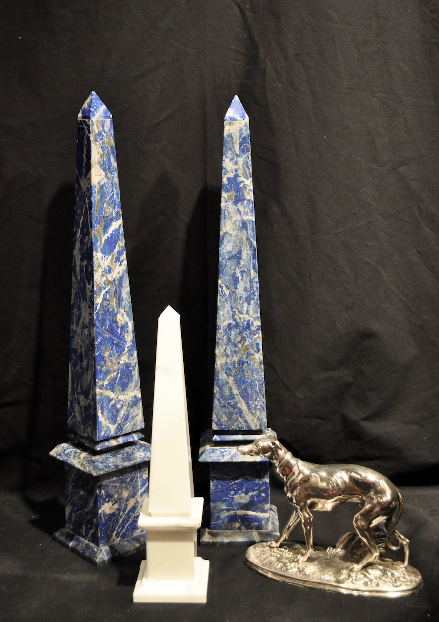 blue and white obelisks