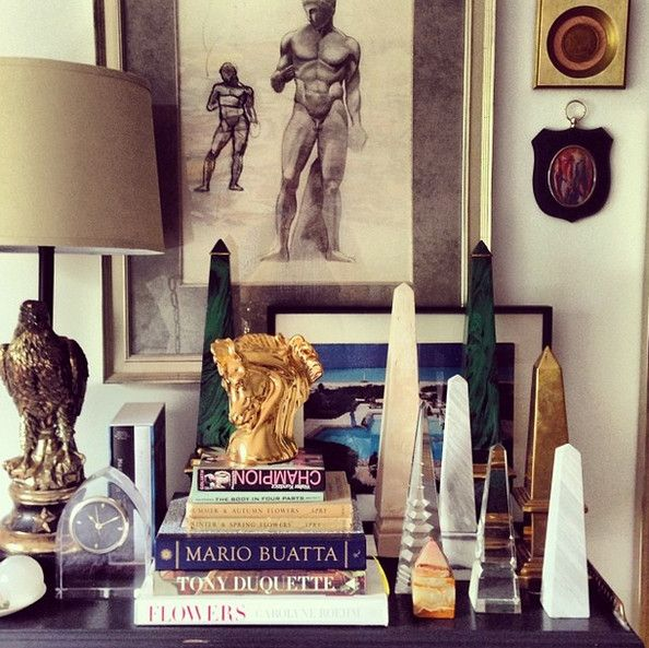 obelisk collection grouped with crystal and brass by Eddie Ross