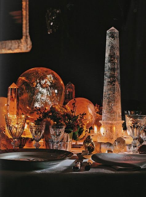rock crystals on dining table by Albert Pinto