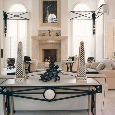 decorating with black and white obelisks