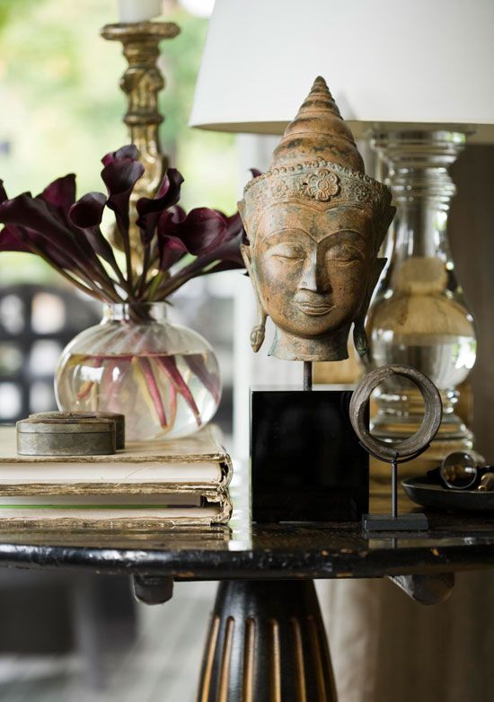 decorating with budda heads and obelisks