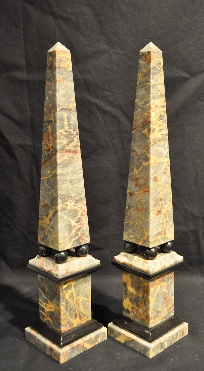 grey salome marble obelisks