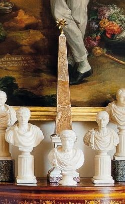 Italian white marble obelisk with turtles