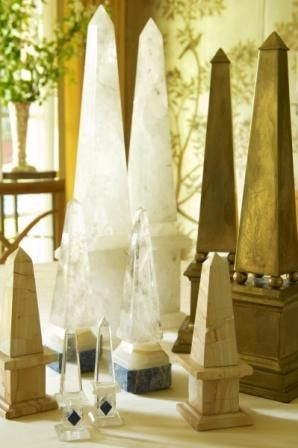 obelisk collection grouped with crystal and brass by Jan Showers
