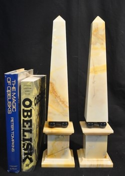 Vintage marble and brass obelisks