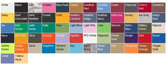 Color Size Charts