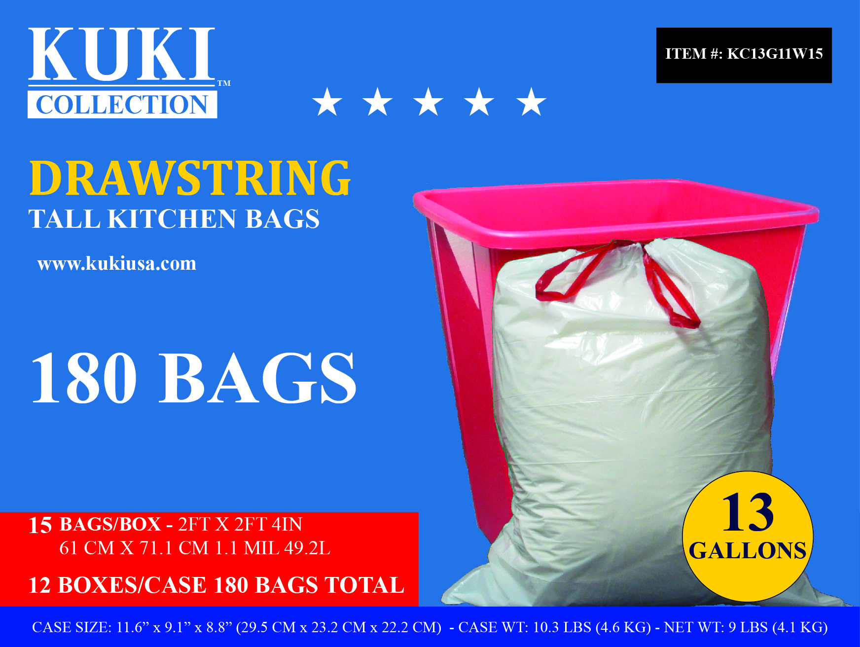 Kuki Collection 13 Gallon Retail Drawstring Case