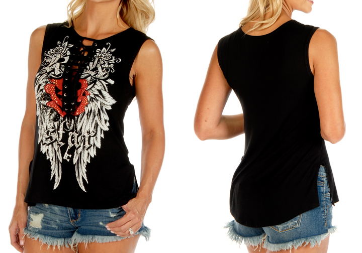 Women's Rock Star Sleeve Lace-Up Top w/ Split Sides