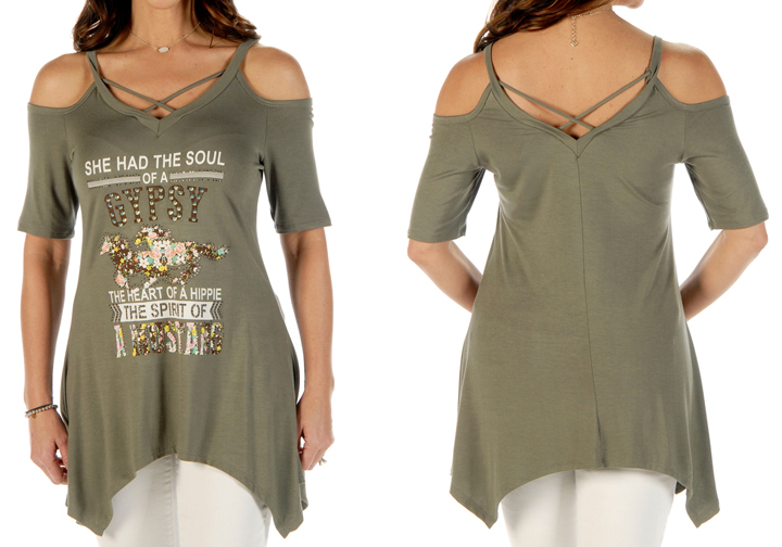 Women's Soul of a Gypsy Cold Shoulder Criss-Cross Sharktail