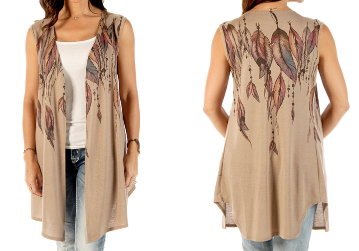 Women's Feathers & Beads Vest Cardigan