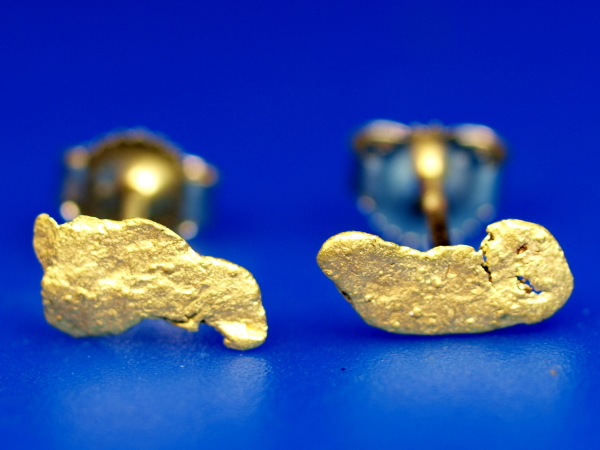 A Lovely Pair Of Stud Earrings Made From Natural Alaskan Gold Nuggets The Posts And Backs Are 14k In 20k 22k Range