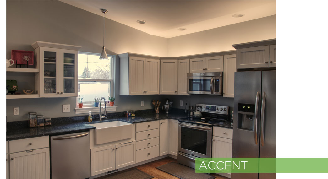 Accent lighting in a kitchen