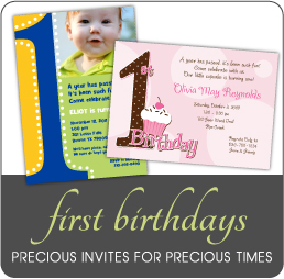 First Birthday Invitations for boys, girls, triplets and twins by Amy's Card Creations