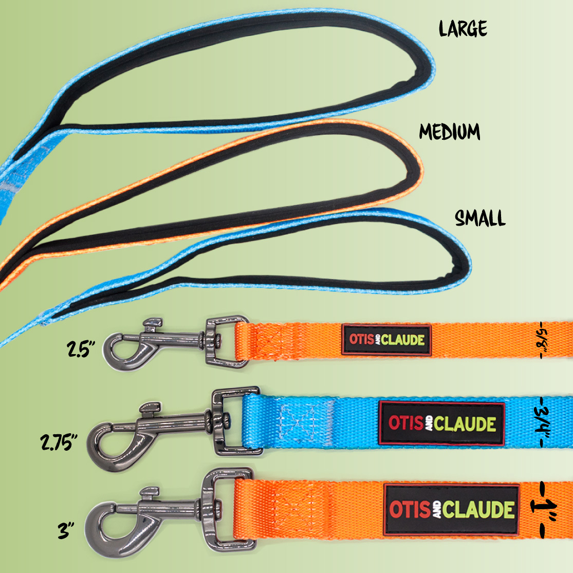 Small Medium Large Princess Blue and Turmeric Leashes, showing measurements