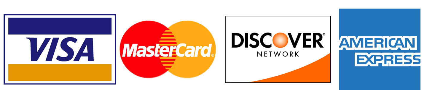 Visa, Master Card, Discover, American Express Accepted