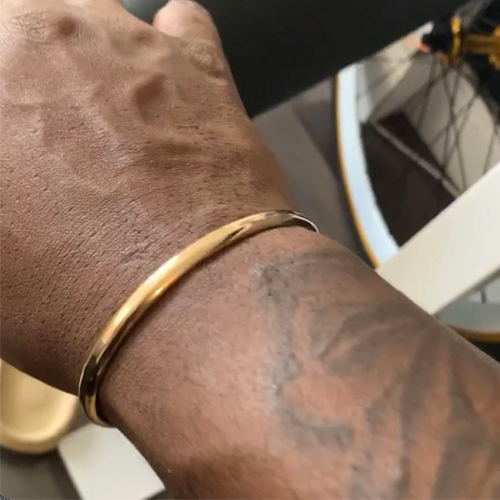 Gold filled heavy gauge cuff by string of jewels